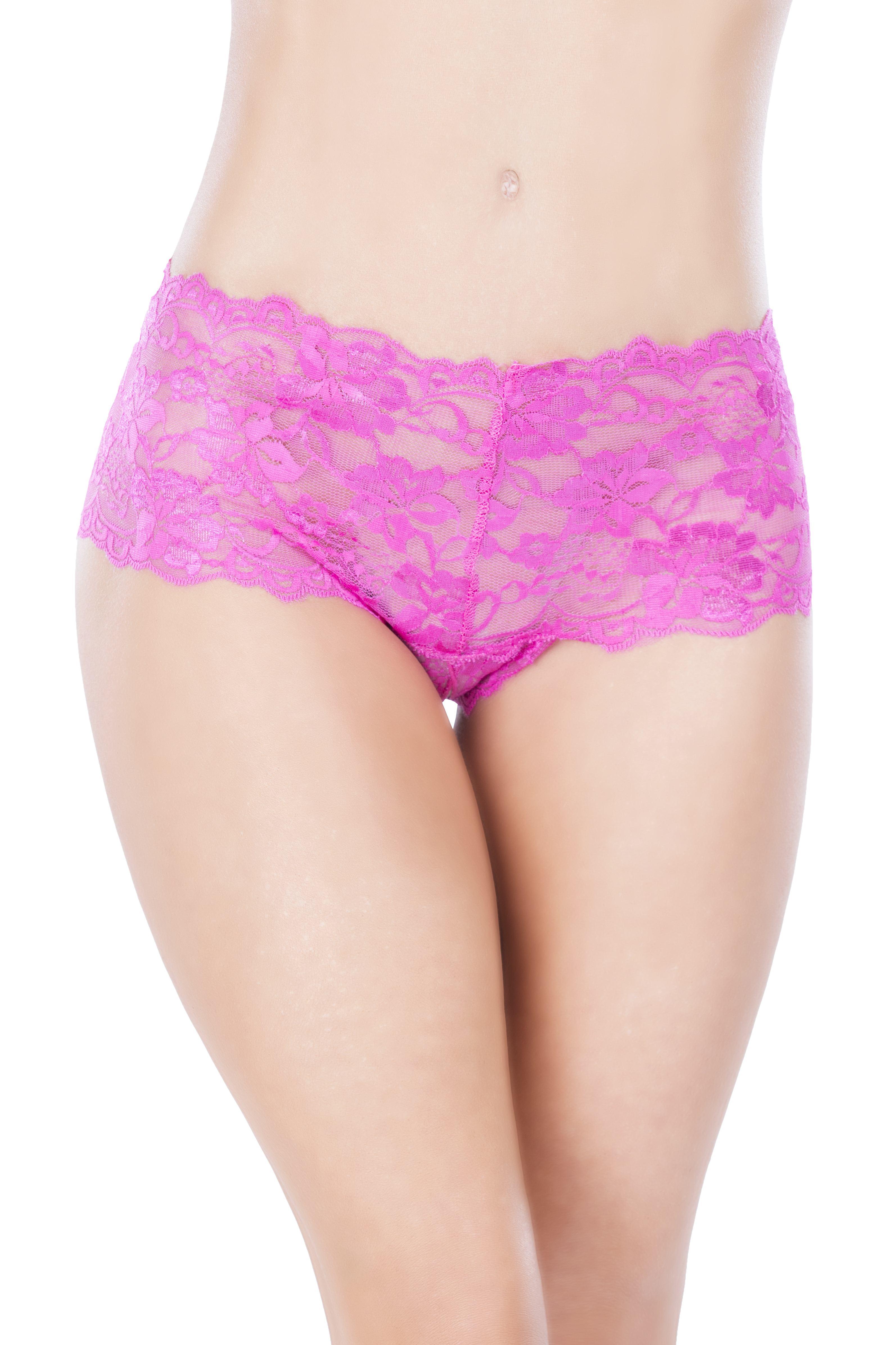 Lace Crotchless Boyshort w/ Elastic Detail